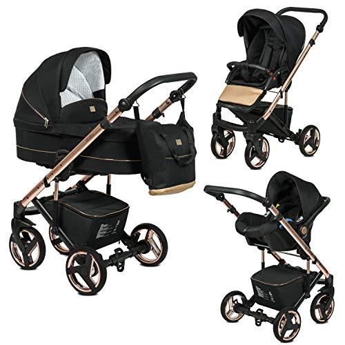 Poussette Combinée Trio 3 en 1 Neri Edition Exclusive RoseGold Noir – Landau, poussette promenade, siège auto Groupe 0+ - Livrée avec ses accessoires.