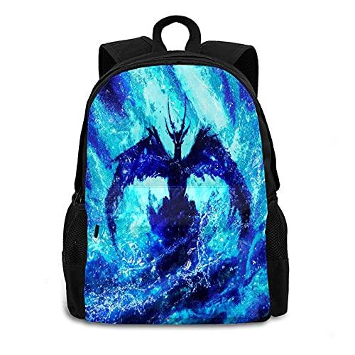Fantasy Water Dragon - Mochila de hombro con diseño de dragón de agua para portátil de 17 pulgadas, unisex, adolescentes, niñas de 1 a 5 años