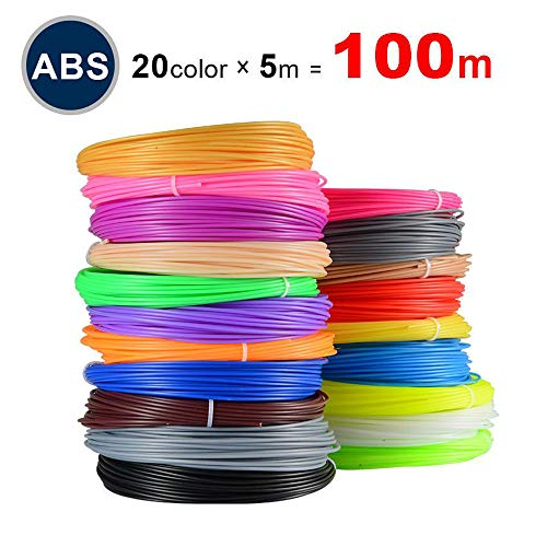 ABS Filament for 3D Printers, 1.75mm Printing Materials,Set 20 Colors Random,Each Color 5m/16.4ft,Safety Kids Printer Pen ABS Refill Gifts