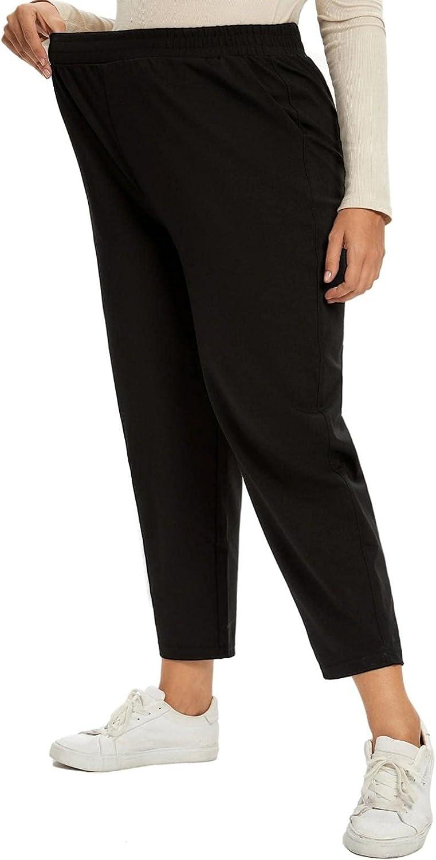 panlndamaris Women's Plus Size Pants Drawstring Design Casual Black Nine-Point Stretch Formal Pants