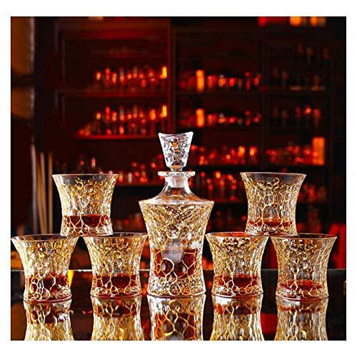 SOAR Botellero 7 Piezas Set Crystal Whisky Decanter Gold Crystal Glass Retro Extranjero Botella de Vino Red Wine Cup Set de Vino Adecuado para el Regalo de casa (Color : C)