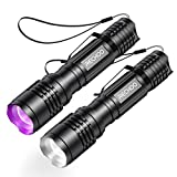 UV Flashlight S1200 [2 PACK], <span class='highlight'><span class='highlight'>RECHOO</span></span> 2 in 1 Black Light with Super Bright Tactical LED Lights 4 Modes IP65 Waterproof Zoomable blacklight Flashlight for Pet Urine Stains, Bed Bug, Hiking, Camping