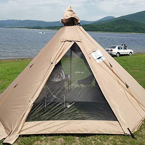 Tienda pirámide de refugio indio anti lluvia al aire libre tienda de campaña yurta con agujero para chimenea, 400 x 350 x 240 cm, solo incluye carcasa exterior