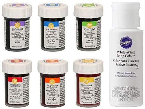 bakeryteam Wilton Gelfarben Regenbogenmix + Weiß (6 x 28g + 59ml)