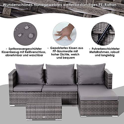 Outsunny Dreiteiliges Gartenmöbel Set, Sofa, Beistelltisch mit Stauraum, 5-Stufig Rückenlehne, PE-Rattan, Grau, (Sofa) 130 x 64 x 62 cm - 8