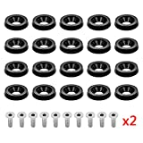 DEDC 20 Pcs Black Aluminum Fender Bumper Washer Bolt, Engine Bay Dress Up Fastener Kit for Car License Plate Frame, Fender, Bumper, M6x20mm