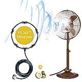 Kit de nebulizador de ventilador para una brisa de patio fresco de 5,9 m y 5 boquillas de latón extraíble y adaptador de latón macizo galvanizado, se conecta a cualquier ventilador exterior para