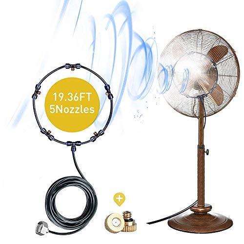 heirao4072 Kit De Nebulización De Ventilador, Ventilador De Nebulización para Exteriores, Sistema De Enfriamiento De Nebulización para Una Brisa Fresca En El Patio, con Boquillas De Neblina De Latón