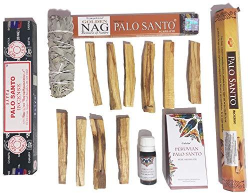 Kit Aromático Premium | Palo Santo y Salvia Blanca | 10 Palos de Madera Sagrada + 47 Varillas de Incienso + Aceite Esencial + Salvia Blanca de California