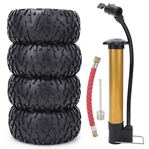 Zouminyy 【𝐏𝐚𝐬𝐜𝐮𝐚】 Neumático de Coche RC, repuestos de actualización de neumático Inflable Universal de 2.2 Pulgadas para 1/10 Modelo de Coche RC Juguete Negro