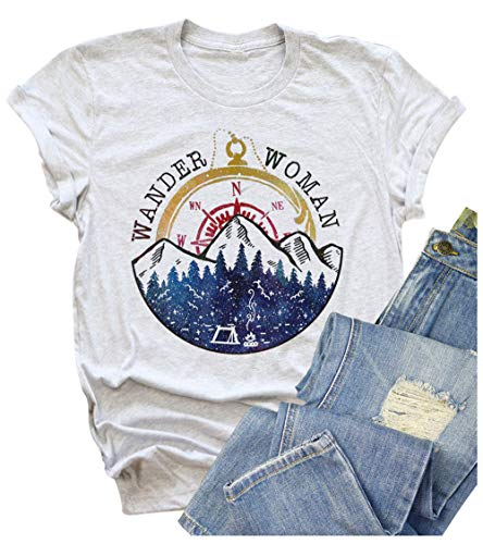 Wander Women Mountain Camping T-Shirt Summer Camping Hiking Vacation Shirts Teen Girls Funny Forest Camper Tees Tops (L, Light Grey)