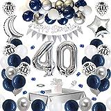 APERIL Globos Cumpleaños 40 Años Decoraciones de Cumpleaños Azul Plata, Pancarta Feliz Cumpleaños, Globos de Confeti...