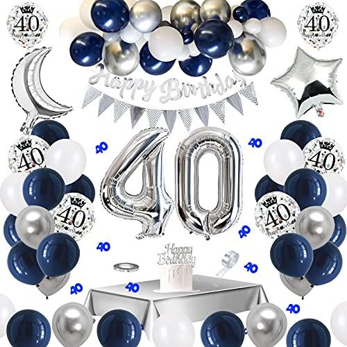 APERIL Globos Cumpleaños 40 Años Decoraciones de Cumpleaños Azul Plata, Pancarta Feliz Cumpleaños, Globos de Confeti Plateados Impresos, Manteles Plateados, 40 Confetti de Mesa, para hombres Mujer