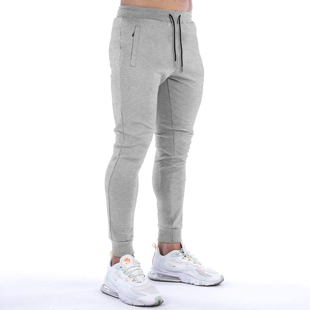 BOOMLEMON Mens Athletic Running Pants Joggers Workout Sweatpants with Zipper Pockets
