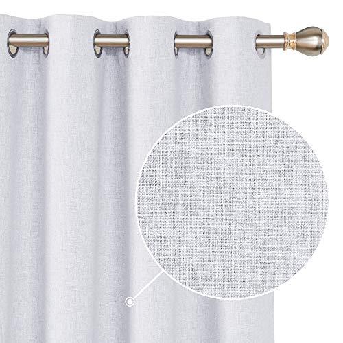 Deconovo Vollverdunkelungsgardinen mit Ösen Blickdichte Vorhänge mit Leinenoptik Thermovorhang 175x140 cm Hellgrau 2er Set