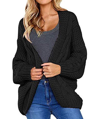 CNFIO Damen Strickjacke Lässig Casual Cardigan Pullover Langarm Outwear mit Taschen Mantel Jacke Schwarz S