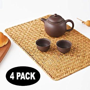 "Pack of 4, Natural Seagrass Place Mat, 17"" x 12"", Hand-Woven Rectangular Rattan Placemats"