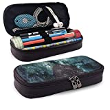 Pencil Case Big Capacity Storage Holder Desk Pen Pencil Marker Stationery Organizer Pencil Pouch with Zipper,Outer Space Nebula Galaxy Stars Mars Jupiter With A Tree On A Planet Print