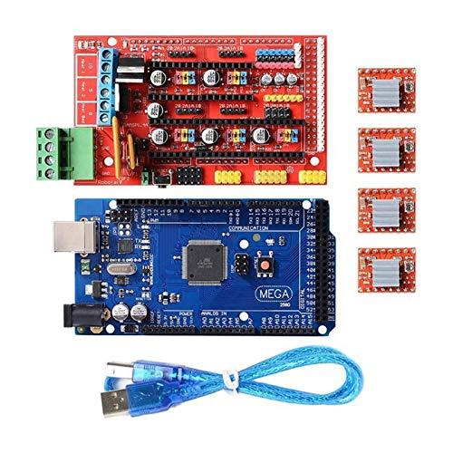 L-Yune,bolt 1 Set 3D Stampante Kit Mega 2560 Board + Rampe 1.4 + 4X A4988 per Arduino Reprap (Colore : Blue)