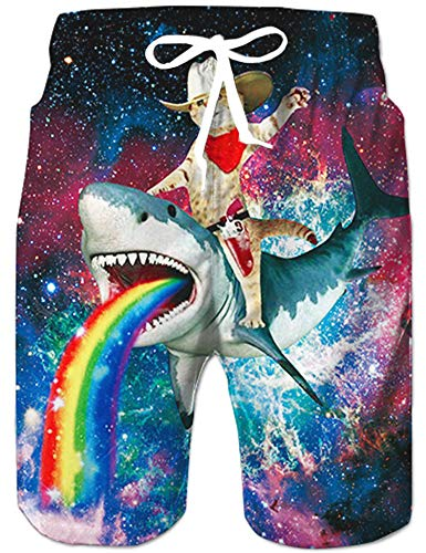 Loveternal Katze Badeshorts für Männer 3D Schnell Trocknend Hai Badehose Lustig Coole Hawaii Badehose M