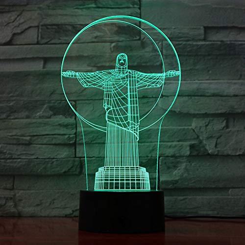 Ilusión de luz Nocturna 3D, lámpara de Escritorio LED Cristo redentor de Noche, 7 Colores de Carga USB, la decoración del Dormitorio para niños Navidad Halloween Regalo de cumpleaños
