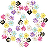 60 Pieces Daisy Flower Enamel Charms Pendant Easter DIY Jewelry Making Charms for Necklace Earrings Bracelets Decoration DIY Crafts
