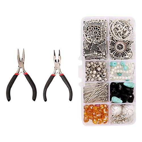 VIccoo Pendiente Bohemio, 1 Juego DIY Kit de fabricación de Pendientes Bohemios Componentes de joyería Materiales Herramientas Suministro - B