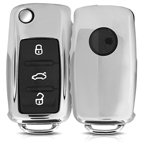kwmobile Autoschlüssel Hülle kompatibel mit VW Skoda Seat 3-Tasten Autoschlüssel - TPU Schutzhülle Schlüsselhülle Cover in Hochglanz Silber