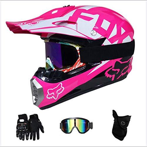 Zhangbangqiangshop Motocross Adulto Casco MX Motocicleta Casco Scooter ATV Casco Road Race D.O.T Certified Pink con Guantes Máscara a Prueba de Viento Goggle (4 Piezas) (Color : M)