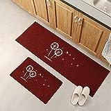 Alfombrillas de Cocina, alfombras de Entrada para la decoración del Dormitorio de la Sala de Estar del hogar, alfombras absorbentes Antideslizantes para el baño A4 40x60cm + 40x120cm