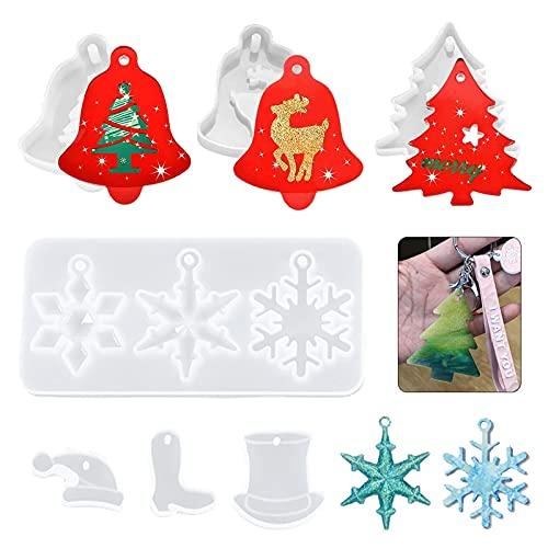 Moldes de Resina de Copo de Nieve 7 piezas Moldes de resina de Navidad para colgantes de joyería Molde de silicona de resina colgante de Navidad Moldes de posavasos de silicona para resina