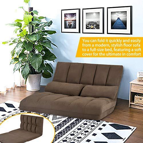 Merax Floor Sofa Bed, Foldable Sleeper Sofa Bed, Adjustable Futon Sofa Folding Lazy Sofa Floor Sofa Couch with 2 Pillows (Brown)
