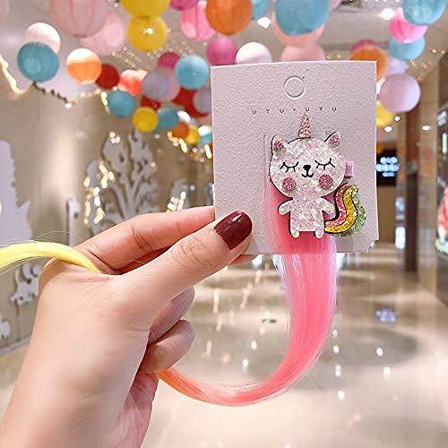 8 unids Coreano Dibujos Animados de niños Peluca Unicornio Arco Iris Haircrips Niños Lindo Cat Ear Ear Clip Accesorios para el Cabello para niñas Bebé Kawaii 702 (Color : 8Pcs)