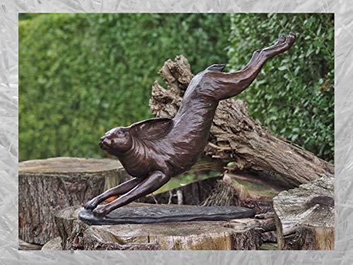 IDYL Escultura de bronce saltando conejo   85 x 18 x 72 cm   Figura de animal de bronce hecha a mano   Escultura de jardín o estanque   Artesanía de alta calidad   Resistente a la intemperie