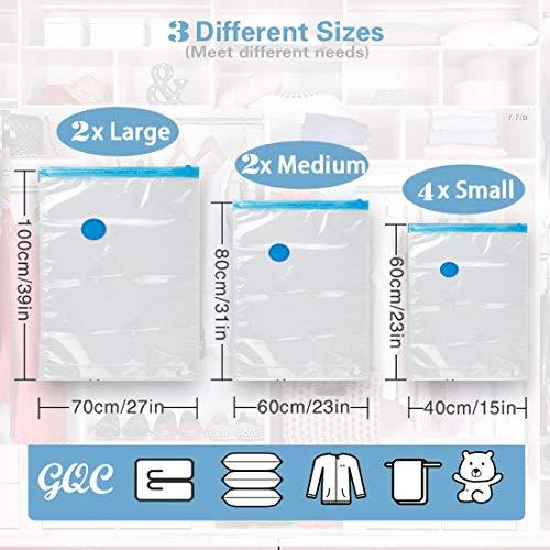 GQC Bolsa al Vacio Ropa, 8unidades+ Bomba de mano Bolsas de Almacenaje Ahorro Espacio Bolsas de Vacio para Guardar Ropa, Edredones, Almohadas, MantasS (4PCS(70*50cm) 2PCS (80*60cm) 2PCS (100*70cm))