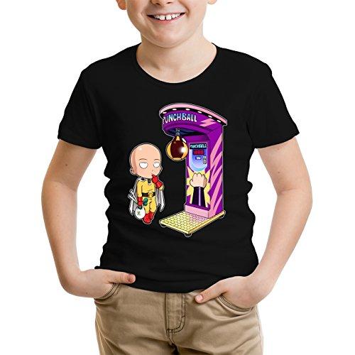 Okiwoki T-Shirt Enfant Garçon Noir Parodie One-Punch Man - Saitama - One Punch Machine (T-Shirt Enfant de qualité Premium de Taille 11-12 Ans - imprimé en France)