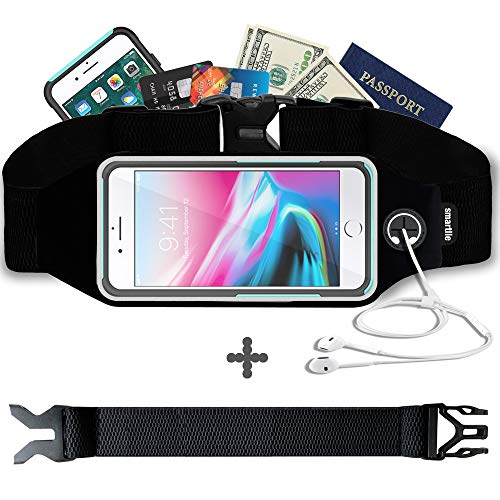 Smartlle Fanny pack, Running Belt, Waist Bag for Women & Men for iPhone 11/11 Pro/11 Pro Max/XR/XS Max/X/XS/8 7 6 6S Plus, Samsung Galaxy S/Note, All Mobiles up to 6.7'',Gym Workout Fitness Gear-Black