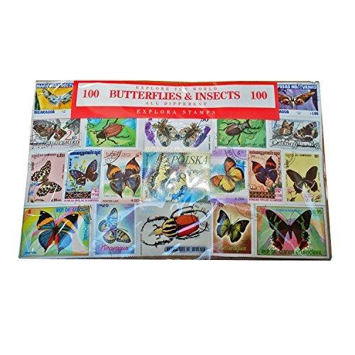 Colección Mundial de Sellos de Mariposas e Insectos - Conjunto de 100 / Todos Diferentes / Recuerdo Entomologico