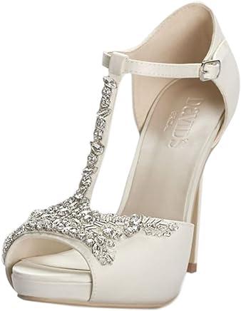f59cdb3d55d David s Bridal Crystal T-Strap Satin Peep Toe Platform Heels Style Paisley