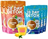 Skinny Boost 28 Day Detox Bundle- 2 Daytime Teas (28 Tea Bags) 3 Evening Tea (14 Tea Bags) Detox, Cleanse, Speed up Metabolism and Lose Weight Naturally with The 2 Step Skinny Boost System!