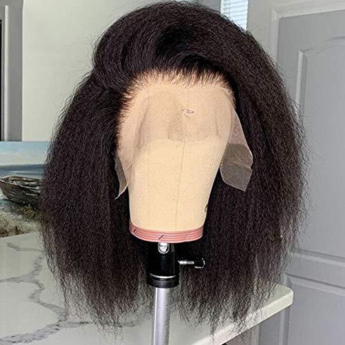 Brazilian Human Hair Wig for Black Woman Glueless 360 Full Lace Wigs Human Hair with Baby Hair Kinky Straight Bob Human Hair 360 Lace Wig Italian Yaki 360 Lace Frontal Wigs 150% Density Small Cap 12'
