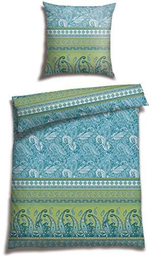Casatex Bettwäsche BALIM 100% Baumwoll Satin modernes Landhaus Bordürendruck mit Paisleys und Ornamenten absolut hip Bettwäsche-Set zum Träumen 135 cm x 200 cm Petrol-grün