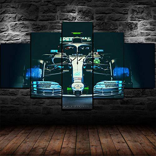 VYQDTNR Arte De Pared Grande Lienzo DecoracióN del Hogar Arte Abstracto Mercedes W10 F1 Formula One Car Lienzo Mural Sala De Estar Dormitorio DecoracióN De Pared De 5 Piezas Obra De Arte
