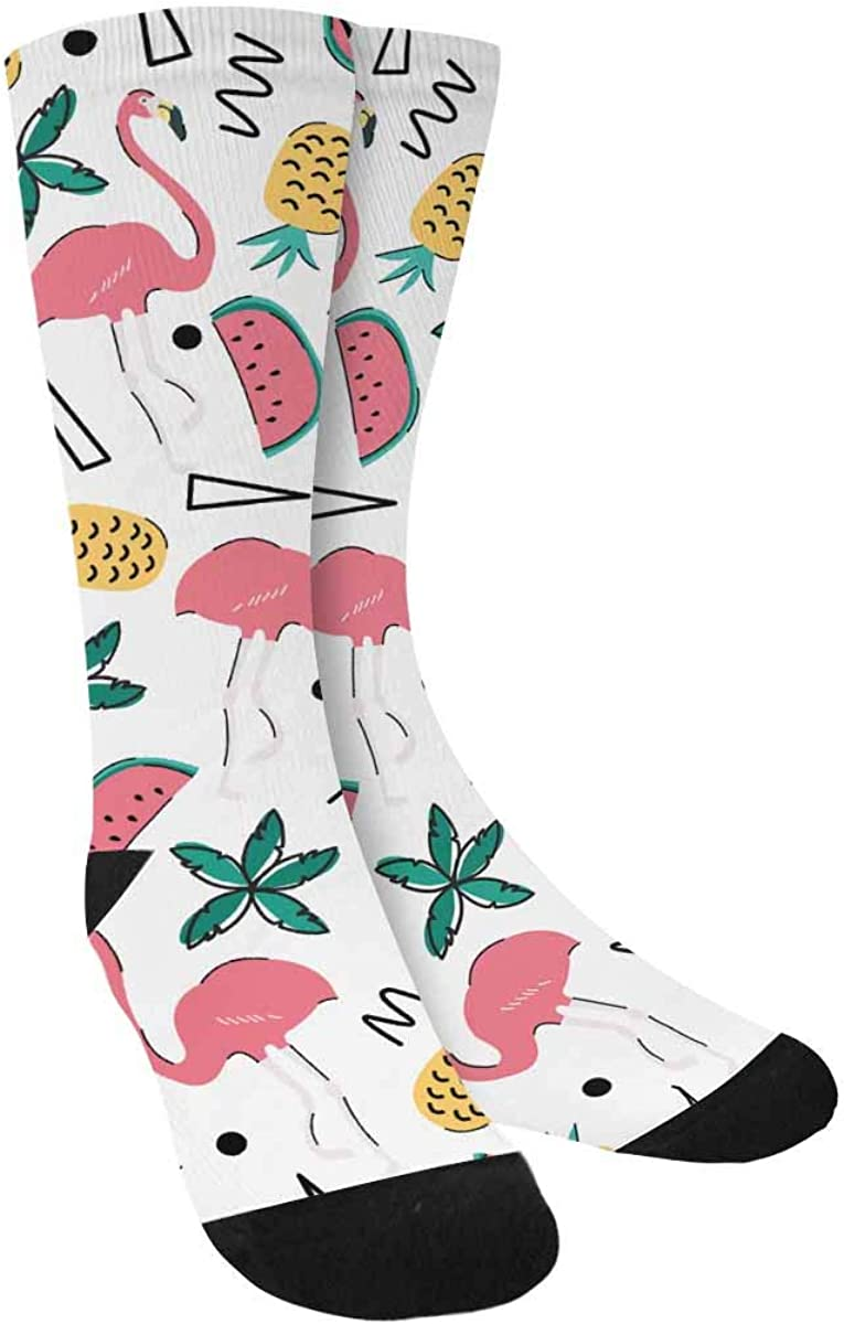INTERESTPRINT Summer Tropical Style Flamingos, Watermelon and Pineapple Sublimated Polyester Casual Crew Socks