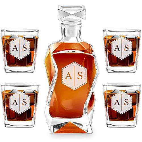 Murrano Whiskey Karaffe + 4er Whiskygläser Set mit Gravur - 700ml Whisky Dekanter - Geschenk zum Geburtstag für Damen - Buchstaben 2