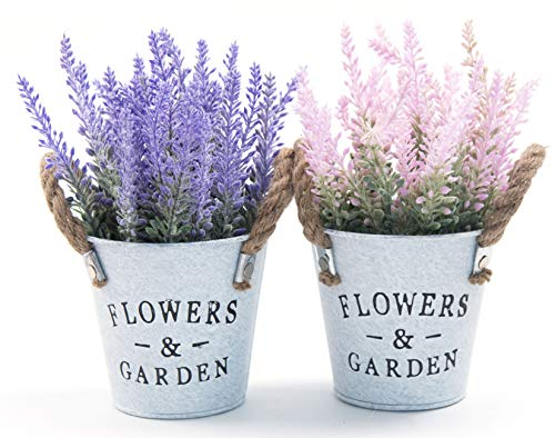 LODESTAR Artificial Lavender Flowers in Metal Pot Mini Fake Floral Bouquet Indoor Outdoor Home Office Wedding Decoration Set of 2 Lavender Flowers
