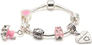 Liberty Charms Childrens Little Sister 'Love to Dance' Silver Plated Charm/Bead Bracelet. with Gift Box and Pouch. Girls Birthday Gift/Stocking Filler (Other Sizes Available)