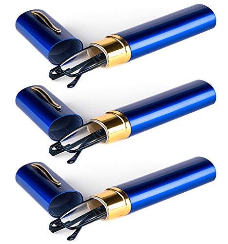 KOOSUFA Lesebrillen Herren Damen Tragbar Brillenhülle Metall Klassische Scharnier Schmal Leichte Stil Stärken lesebrille mit Etui Taschenclip Brillenetui (3 Stück Blau, 2.5)