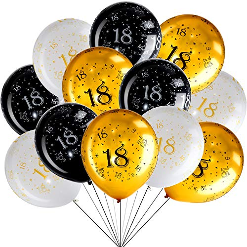 45 Piece 12 Inch 18th Birthday Party Latex Balloons Birthday Anniversary Party Decoration White Gold Black Theme Party Balloon for Birthday Party Supplies Indoor Outdoor Decor