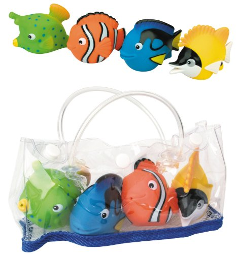DAM bébés et première infanciajuguetes de bañodamwaterworld : Corail Fish Friends, Set of 4 Funny squirters in a nice Stow Bag with a Mesh Bottom, allowing The Water to Leak Away, 3 + multicolore (Plus d'une)